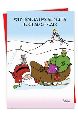 Hysterical Christmas Card From NobleWorksInc.com - Reindeer Cats