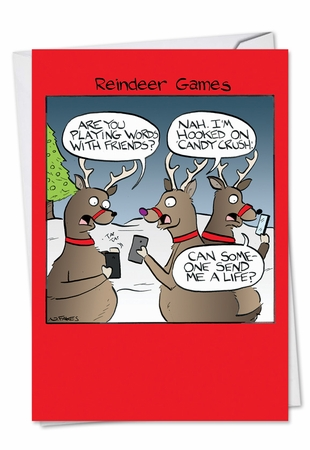 Humorous Christmas Card From NobleWorksInc.com - Reindeer Games