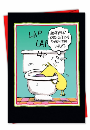 Hysterical New Year Card From NobleWorksInc.com - Resolution Down The Toilet