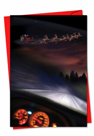 Hysterical Blank Christmas Card From NobleWorksInc.com - Santa Dashcam