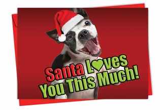 Artistic Christmas Card From NobleWorksInc.com - Santa Loves You This Much Dog