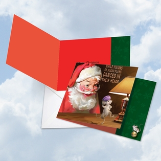 Artful Christmas Square-Top Card From NobleWorksInc.com - Santa Mouse Sugar Plums