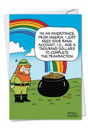 Funny St. Patrick's Day Card From NobleWorksInc.com - Scam Pot O Gold
