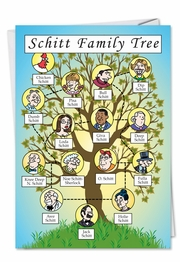 Schitt Family Tree Genealogy Cartoon Humor Funny Card