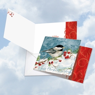 Artistic Happy Holidays Square-Top Card From NobleWorksInc.com - Season's Tweets