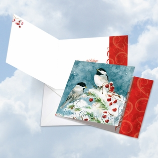 Beautiful Happy Holidays Square-Top Card From NobleWorksInc.com - Season's Tweets