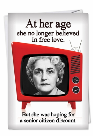 Hysterical Valentine's Day Card From NobleWorksInc.com - Senior Citizen Discount