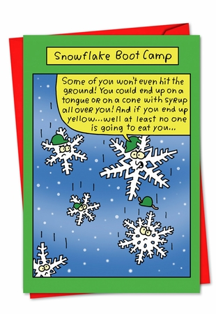 Humorous Blank Christmas Card From NobleWorksInc.com - Snowflake Boot Camp