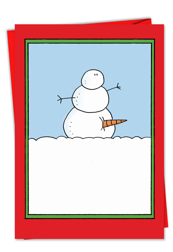 Inappropriate Humor Snowman Carrot Erection Christmas Card Nickel