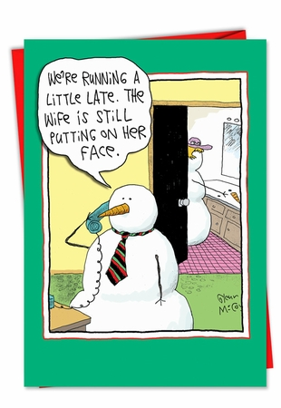 Humorous Christmas Card From NobleWorksInc.com - Face On