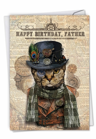Artistic Birthday Father Card From NobleWorksInc.com - Steampunk Cats