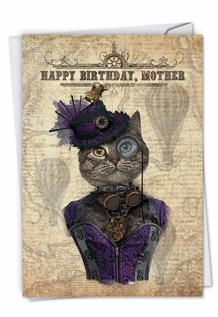 Beautiful Birthday Mother Card From NobleWorksInc.com - Steampunk Cats