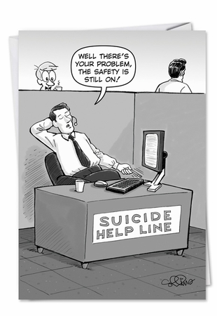Humorous Birthday Card From NobleWorksInc.com - Suicide Help