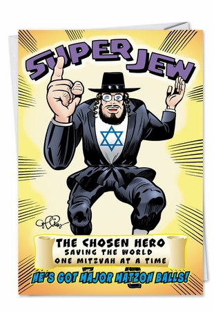 Humorous Birthday Card From NobleWorksInc.com - Super Jew