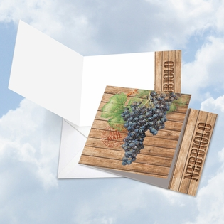 Beautiful Blank Square-Top Card From NobleWorksInc.com - Through the Grapevine Nebbiolo