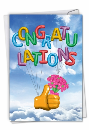 Hilarious Congratulations Card From NobleWorksInc.com - Thumbs-Up Balloons
