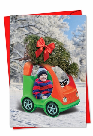 Funny Blank Christmas Card From NobleWorksInc.com - Toy Car Tree