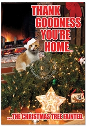 Tree Fainted-Cat Funny Christmas Card by NobleWorks