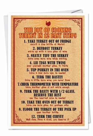 Hilarious Thanksgiving Card From NobleWorksInc.com - Twelve Step Turkey