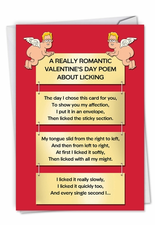 Hysterical Valentine's Day Card From NobleWorksInc.com - Licking Poem