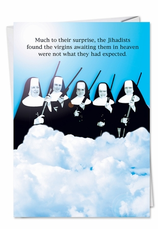 Humorous Birthday Card From NobleWorksInc.com - Virgins In Heaven