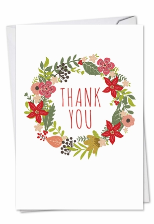 Artistic Blank Christmas Thank You Card From NobleWorksInc.com - Watercolor Wreaths