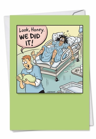 Humorous Baby Card From NobleWorksInc.com - We Did It