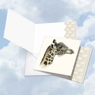 Artful Blank Square-Top Card From NobleWorksInc.com - Wildlife Glamour Giraffe