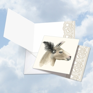 Artistic Blank Square-Top Card From NobleWorksInc.com - Wildlife Glamour Llama