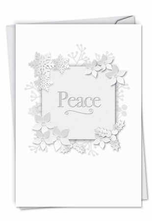 Creative Seasons Greetings Card From NobleWorksInc.com - Winter White on White-Peace