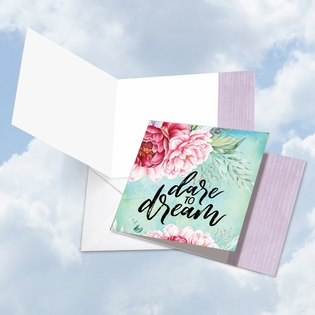 Beautiful Blank Friendship Square-Top Card From NobleWorksInc.com - Words of Encouragement Dare to Dream