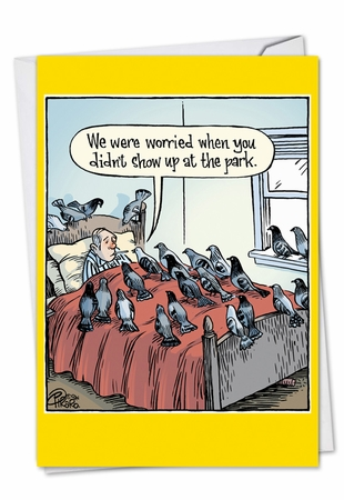 Funny Get Well Card From NobleWorksInc.com - Worried Pigeons