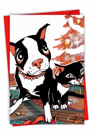 Artful Christmas Card From NobleWorksInc.com - Xmas Dog and Cat