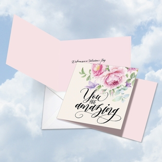 Beautiful Valentine's Day Square-Top Card From NobleWorksInc.com - You Are Amazing