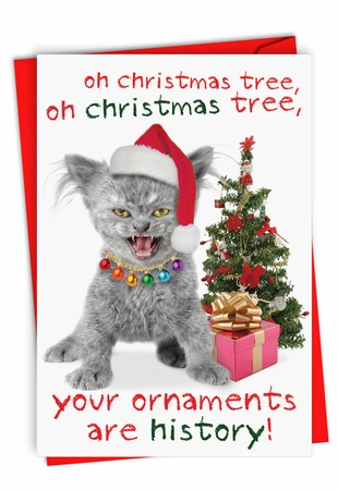 Hilarious Blank Christmas Card From NobleWorksInc.com - Your Ornaments Are History