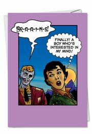Zombie Brains Funny Valentine's Day Card by NobleWorks and Last Kiss