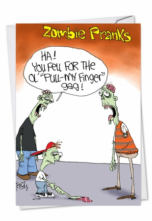 Hysterical Halloween Card From NobleWorksInc.com - Zombie Pull My Finger