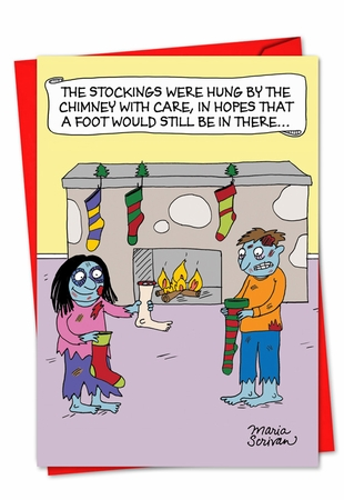 Humorous Christmas Card From NobleWorksInc.com - Zombie Stockings
