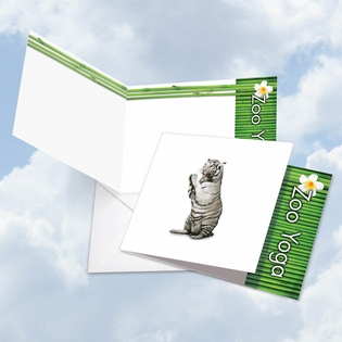 Beautiful Blank Square-Top Card From NobleWorksInc.com - Zoo Yoga - White Tiger