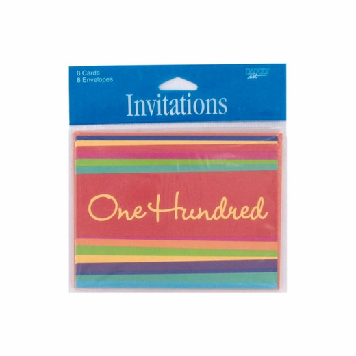 """100 Hundred"" Striped Party Invitations"