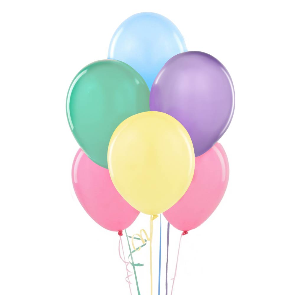 12 assorted pastel colored balloons