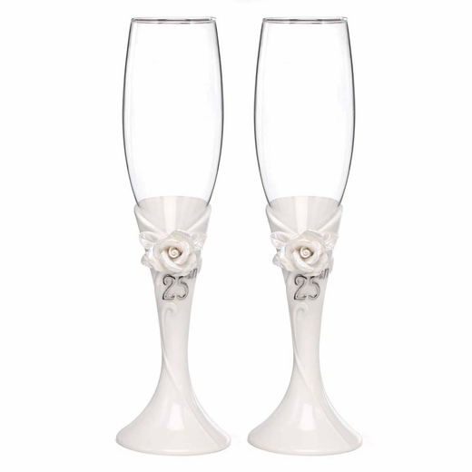 25th Pearl Rose Anniversary Flutes