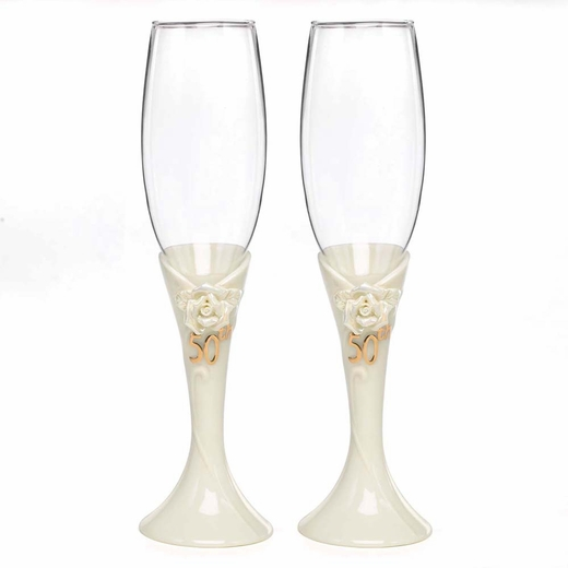 50th Pearl Rose Anniversary Flutes