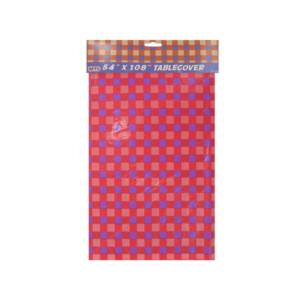 "54""X108"" Red/Purple Checkered Table Cover"