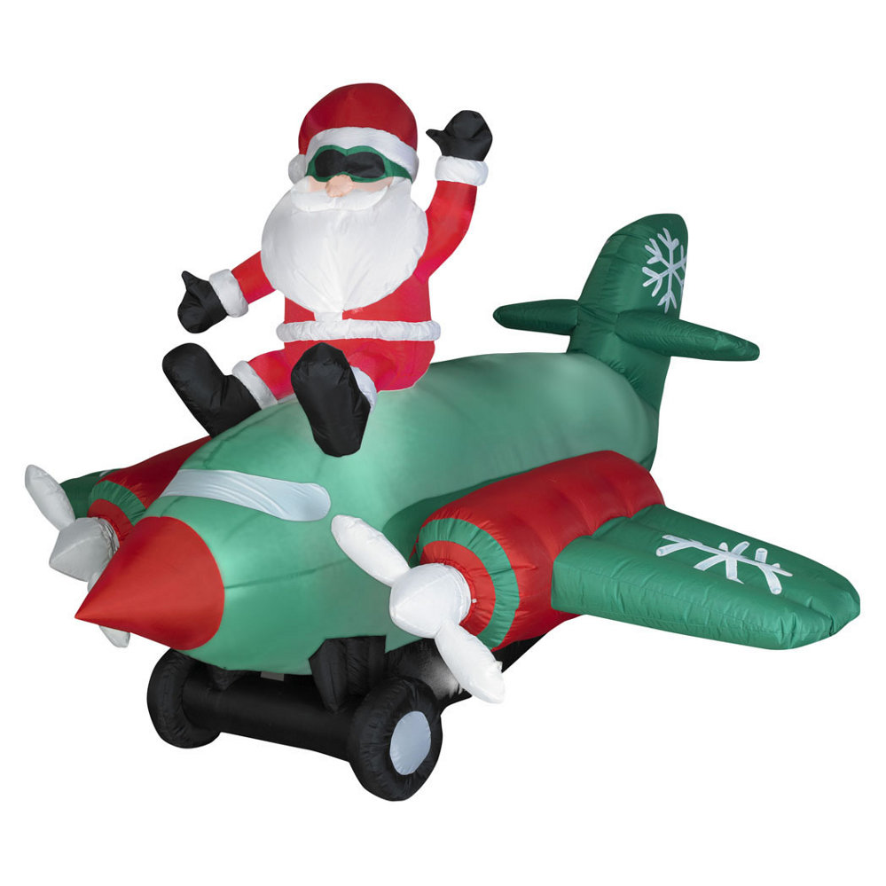 7Ft Airblown Animated Santa Sitting On Plane