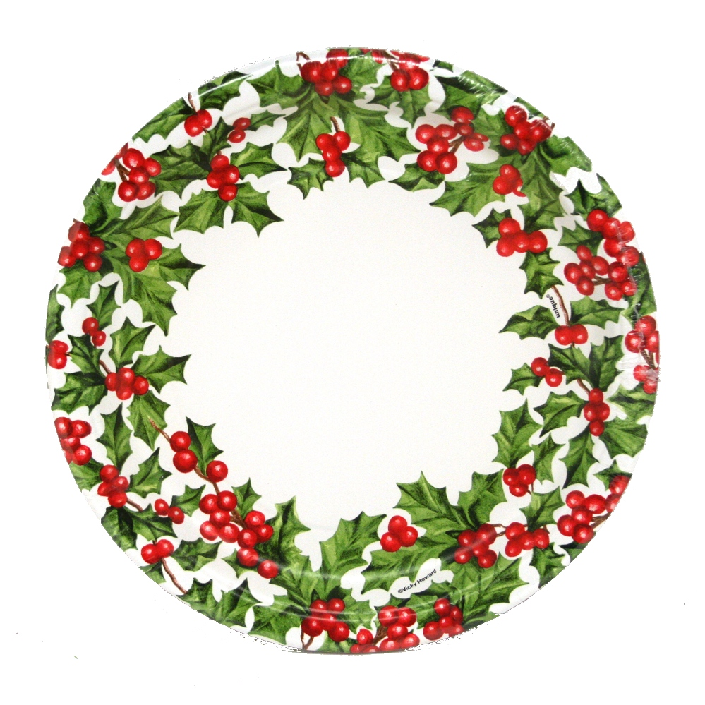 "9"" Christmas Paper Plates 