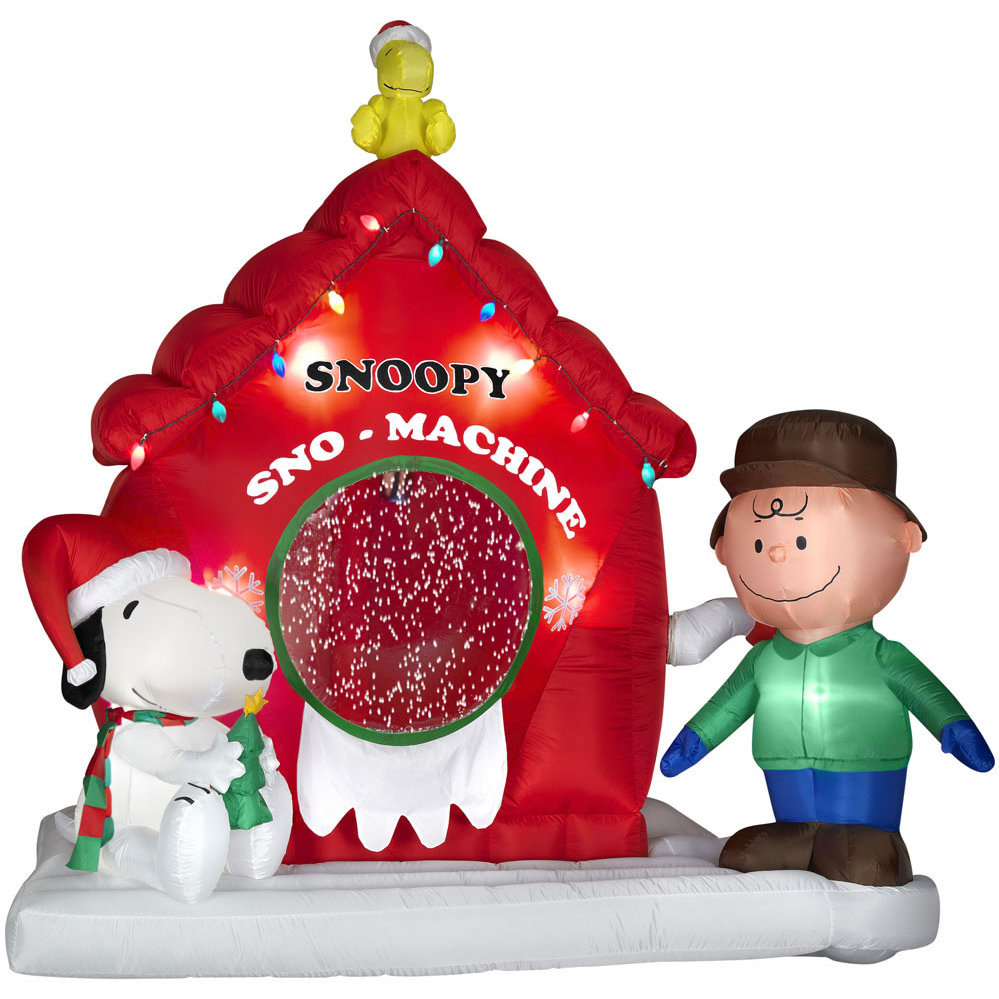 Snoopy outdoor christmas decorations - Airblown Animated Peanuts Snow Machine