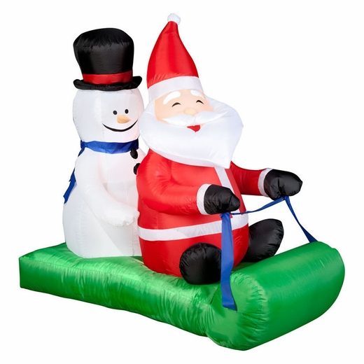 Airblown Santa And Snowman On Sled