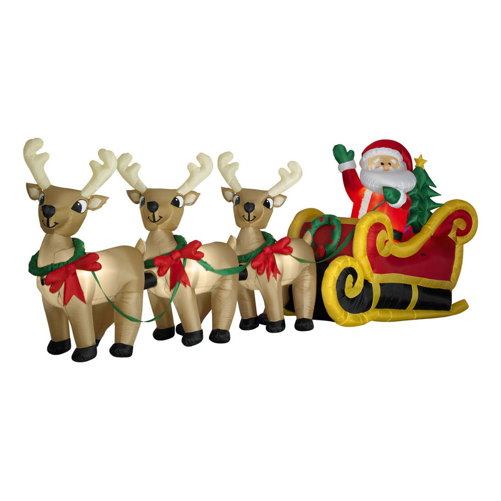 Airblown Santa In Sleigh With Three Reindeer