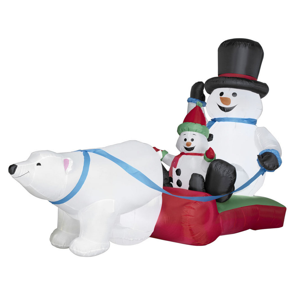 Airblown Snowman Family Pulled By A Polar Bear